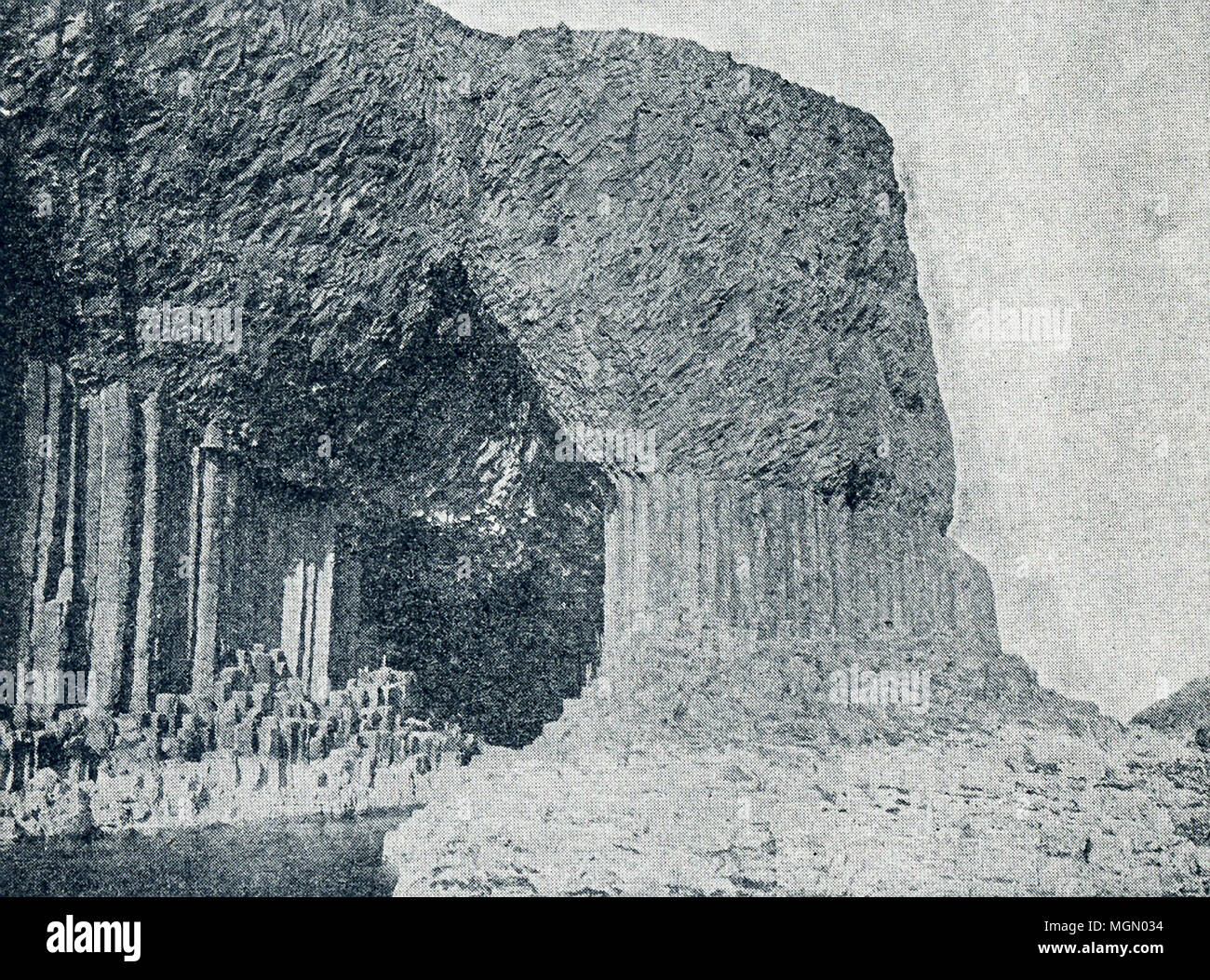This photo, which dates to the late 1890s, shows Fingal's Cave, an unusuallt beautiful cave on Staffa Island in the Inner Hebrides in Scotland. It is associated with many legends. Mendelssohn composed an overture called The Hebrides or Fingal's Cave. - Stock Image