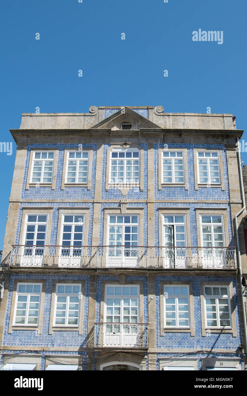 Historic Center Facades With Ceramic Tiles In Portugal City Of