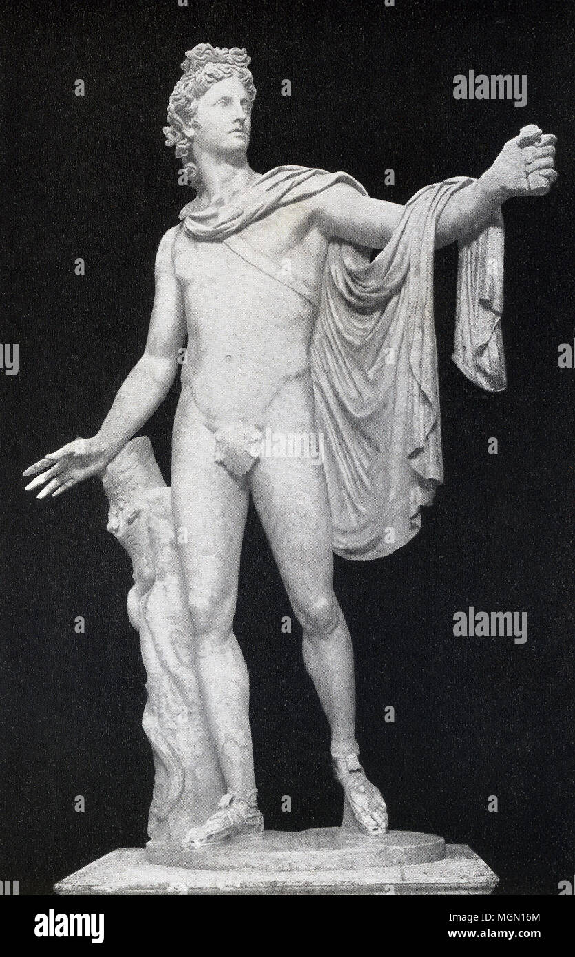 This photo of the statue known as Apollo Belvedere was taken in the late 1890s. This particular statue of the Greek god Apollo (also known by the Romans as Apollo) is housed at the Vatican and is a Roman copy fashioned in marble of the Greek original that was cast in bronze. It is one of the best known of ancient Classical sculptures and its fame is due in large part to the German art historian and archaeologist Johann Winckelmann, who praised it as the highest expression of ancient art. It dates to the second century A.D. The original dated to 330-320 B.C. and was the work of the sculptor Leo Stock Photo
