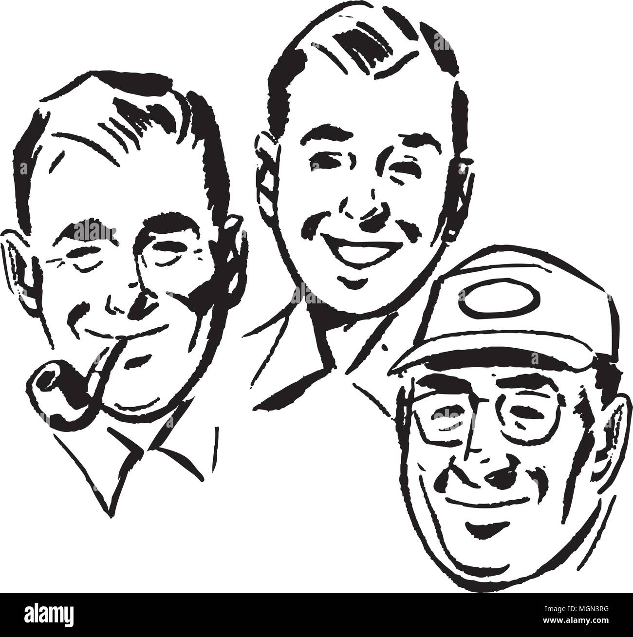 Three Swell Guys - Retro Clipart Illustration - Stock Vector