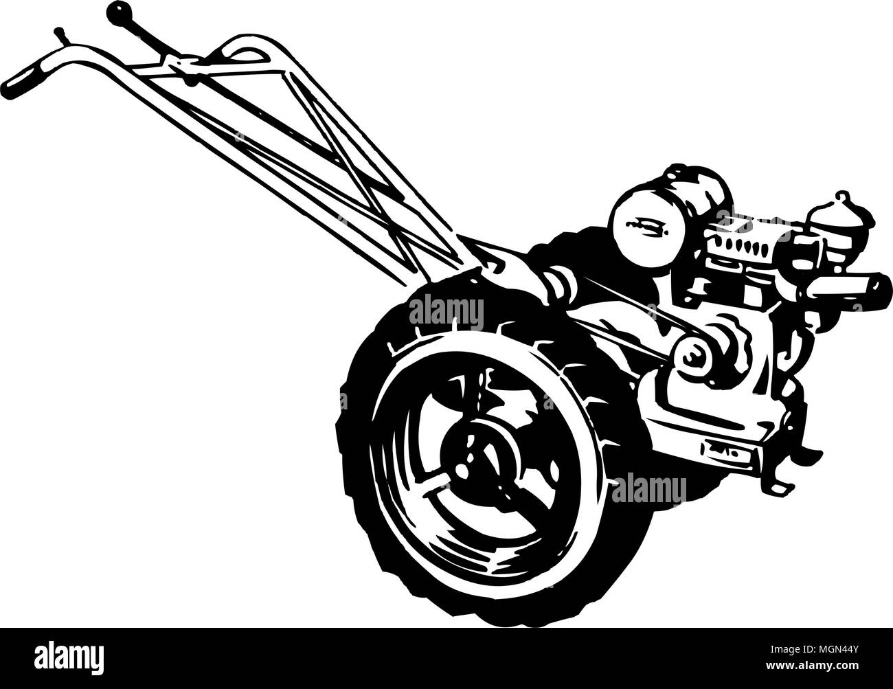 Tiller - Retro Clipart Illustration Stock Vector