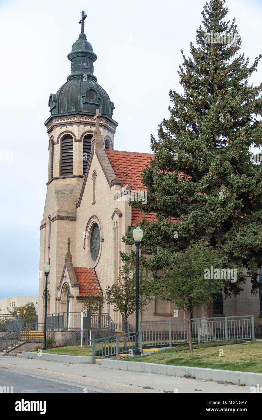 St. Joseph's Catholic Church in Rawlins, Wyoming. According to the Diocese, Saint Joseph's Catholic Church in Rawlins was built in 1915. - Stock Image