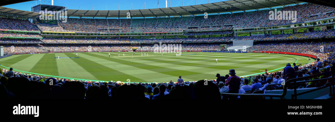 Wide panorama of test cricket match at the Melbourne Cricket Ground (MCG), Australia versus England, Boxing Day 2018 - Stock Image