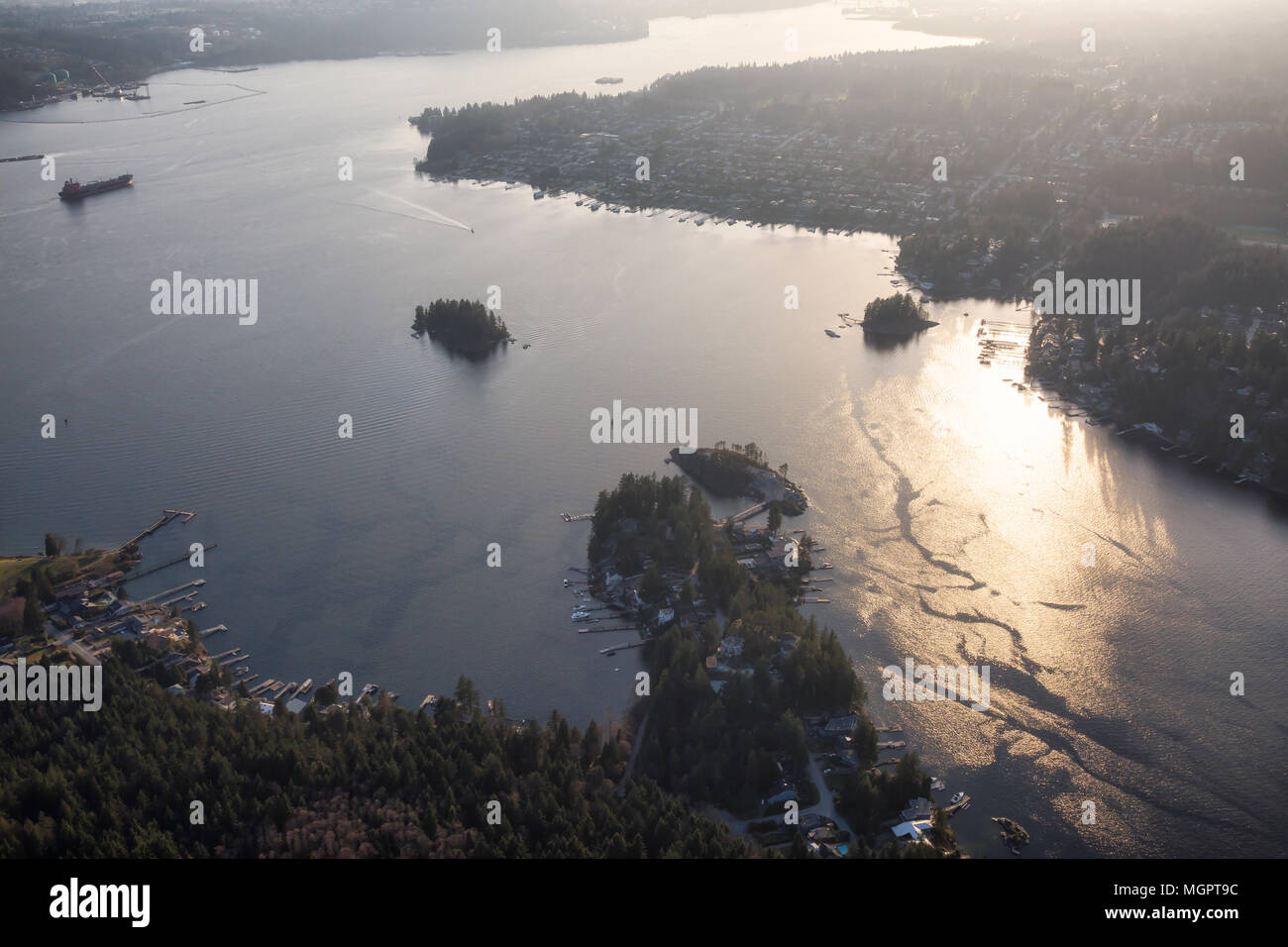 Aerial View Of Deep Cove And Indian Arm During A Vibrant Sunset Taken In Vancouver British Columbia Canada