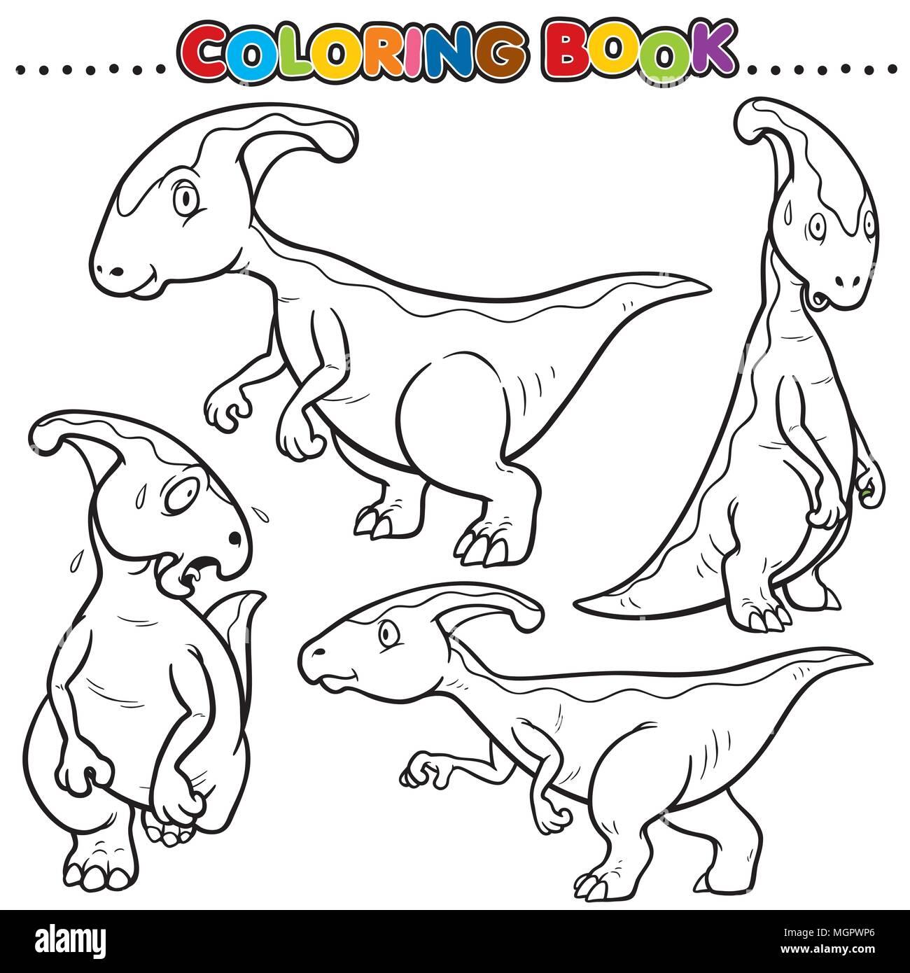 Cartoon Coloring Book - Dinosaurs Character Stock Vector Art ...