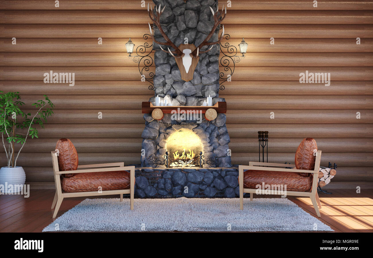 Room Interior In Log Cabin Building With Stone Fireplace And Retro