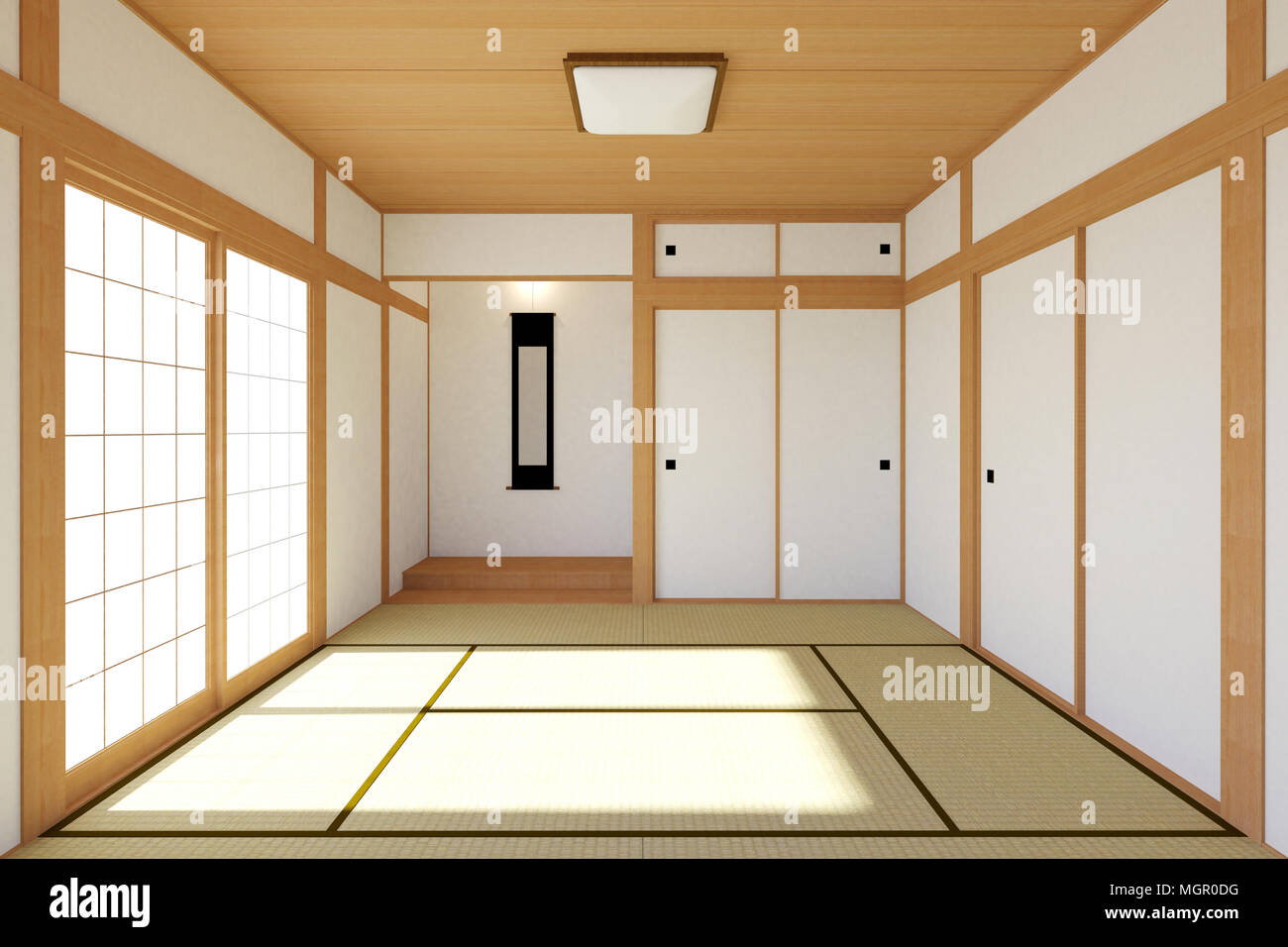. Empty Japanese living room interior in traditional and minimal