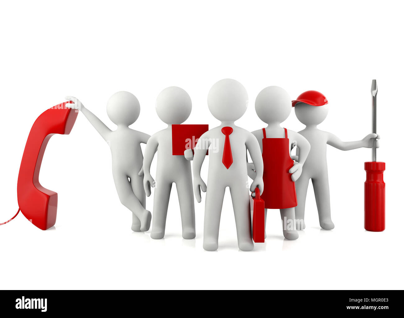 Group of 3D man different careers, professional career concept - Stock Image