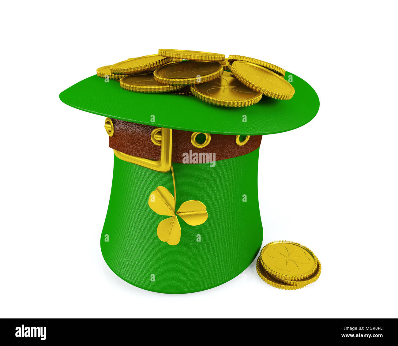 Saint Patrick's Day Leprechaun Hat with Gold Coins, 3D Rendering - Stock Image