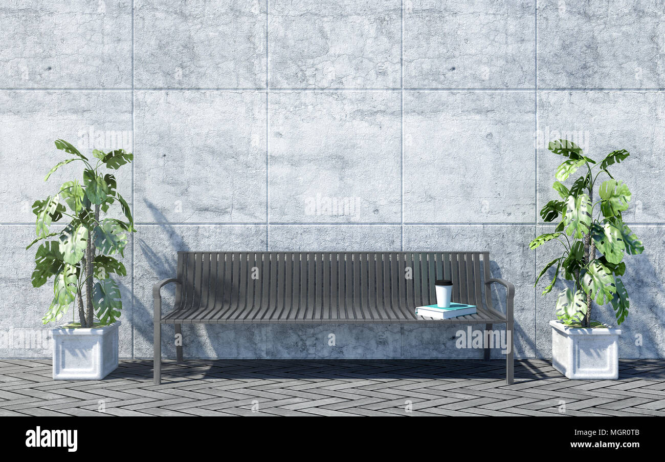 Metal Outdoor Bench With Decorative Plants On Bright Concrete Wall