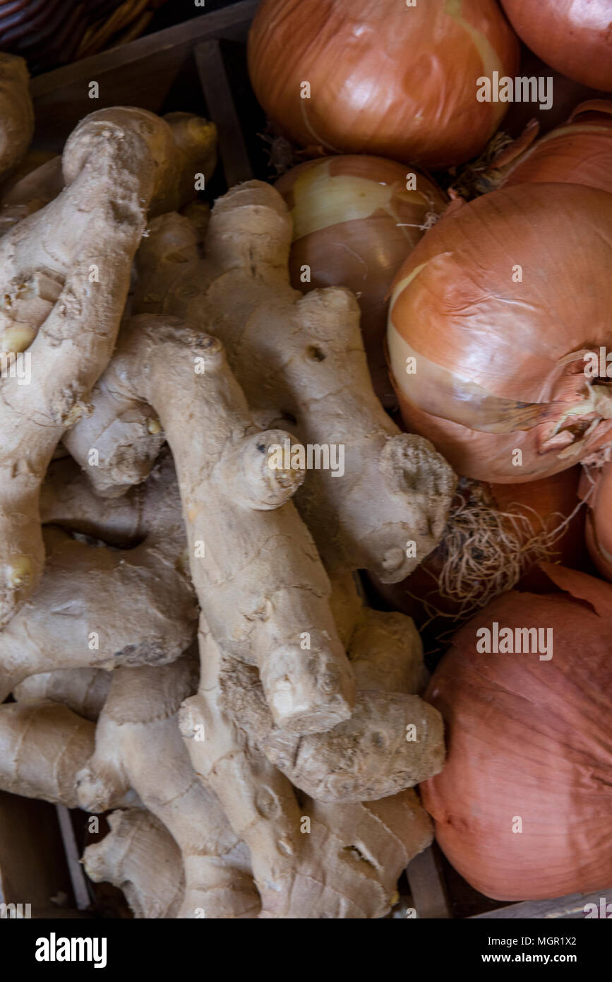 Fresh ginger root and brown onions on sale at a greengrocers stall on borough market in central London. Good food and organic produce at a market. - Stock Image