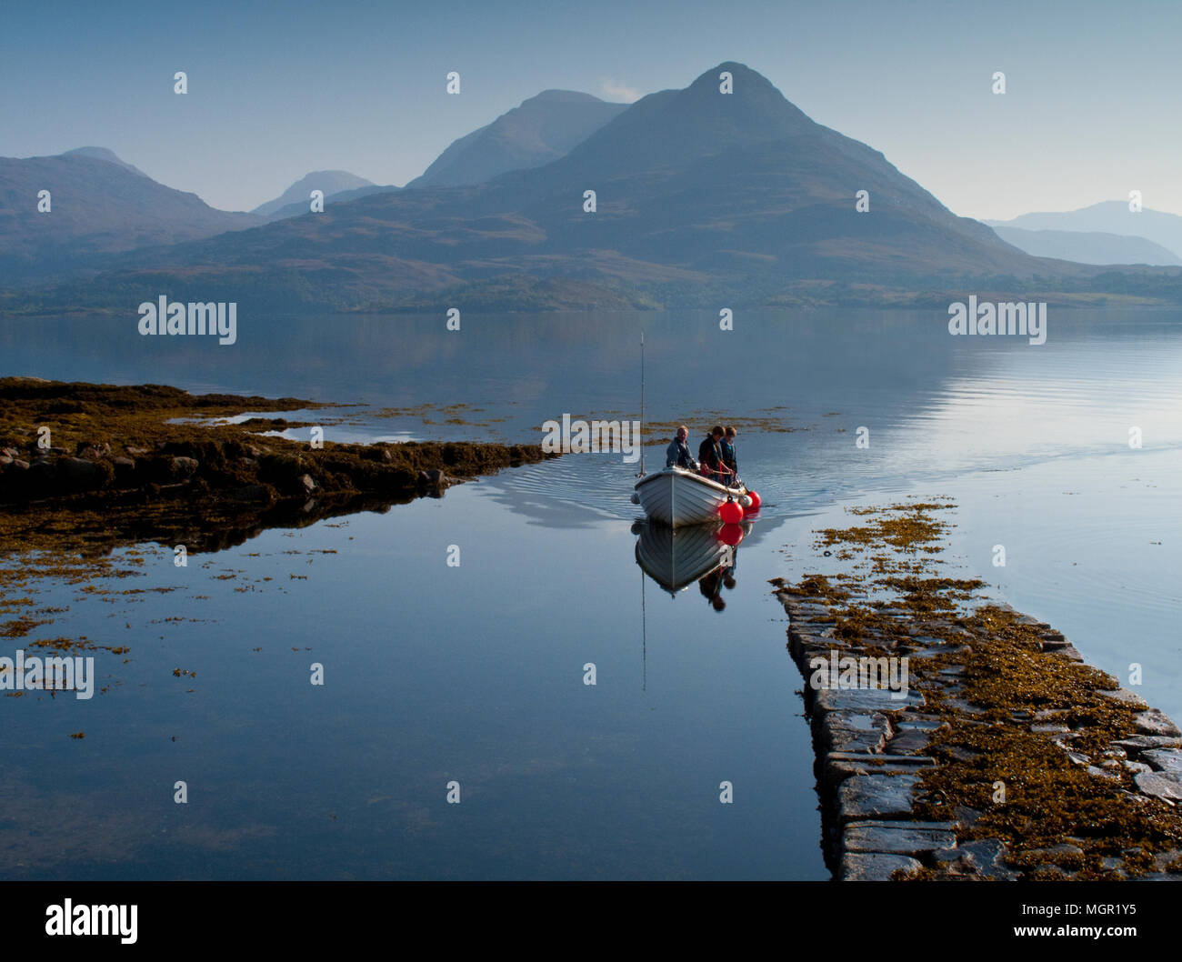 Bringing in the catch on Loch Torridon - Stock Image