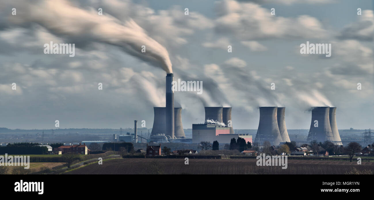 Cottam Power Station on a windy day - Stock Image