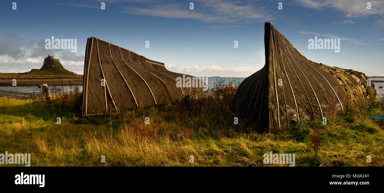 The Herring boats Lindisfarne Stock Photo