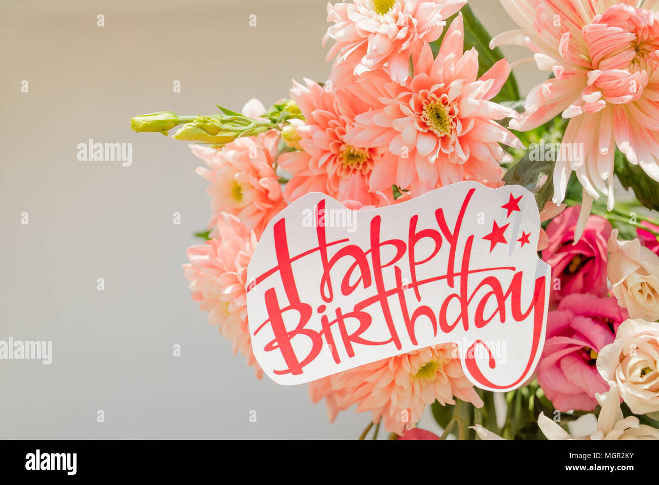 Soft Pink Chrysanthemums And Happy Birthday Posterbeautiful Flowers With A Text SignboardHappy Greeting Card Spring Bouquet
