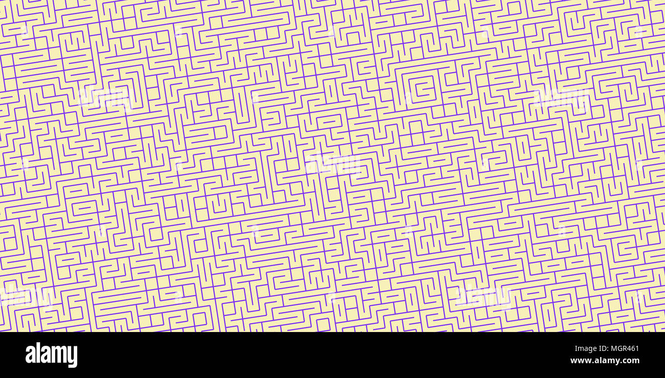 Light Yellow Violet Seamless Outline Labyrinth Background. Maze Path Puzzle Concept. Difficulty Logical Mind Creativity Abstraction. - Stock Image