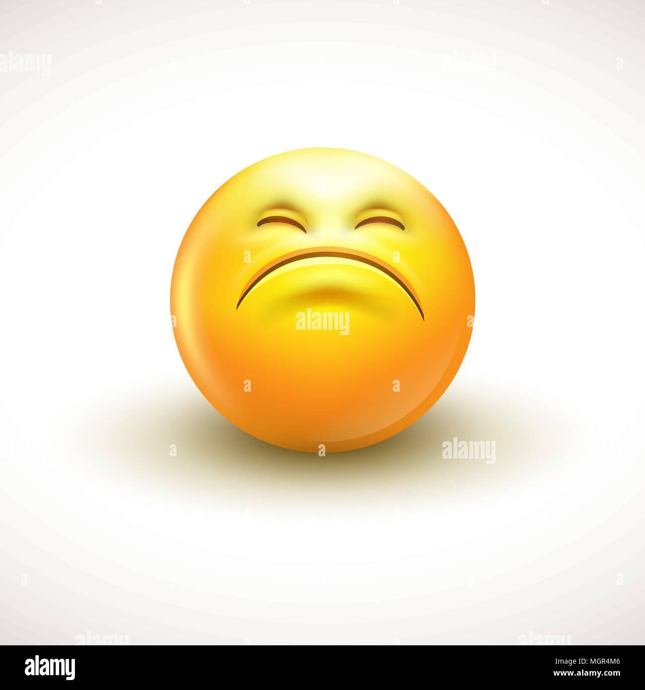 Cute curious emoticon, emoji - vector illustration - Stock Image