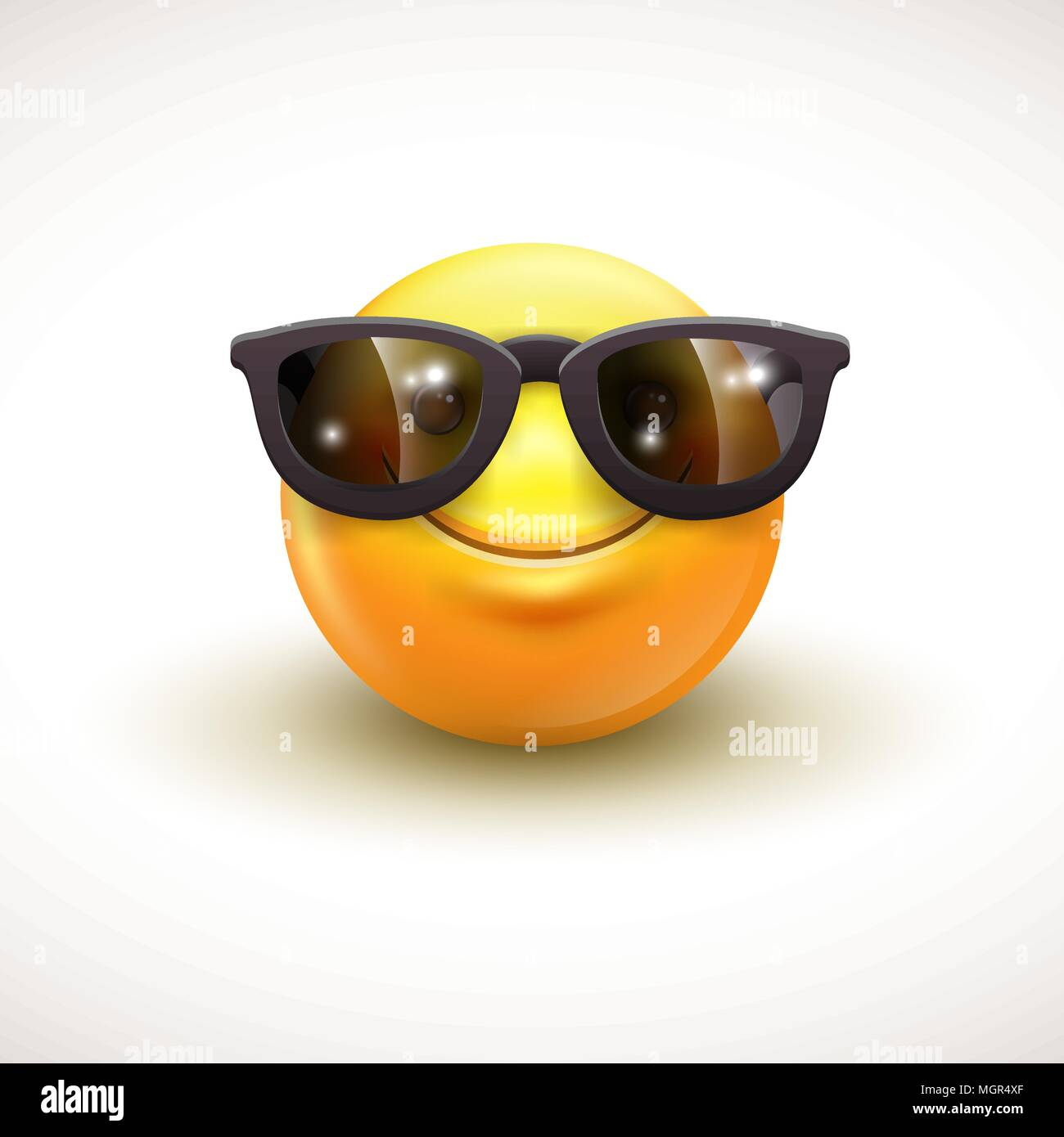 Cute smiling emoticon wearing black sunglasses, emoji, smiley - vector illustration - Stock Image