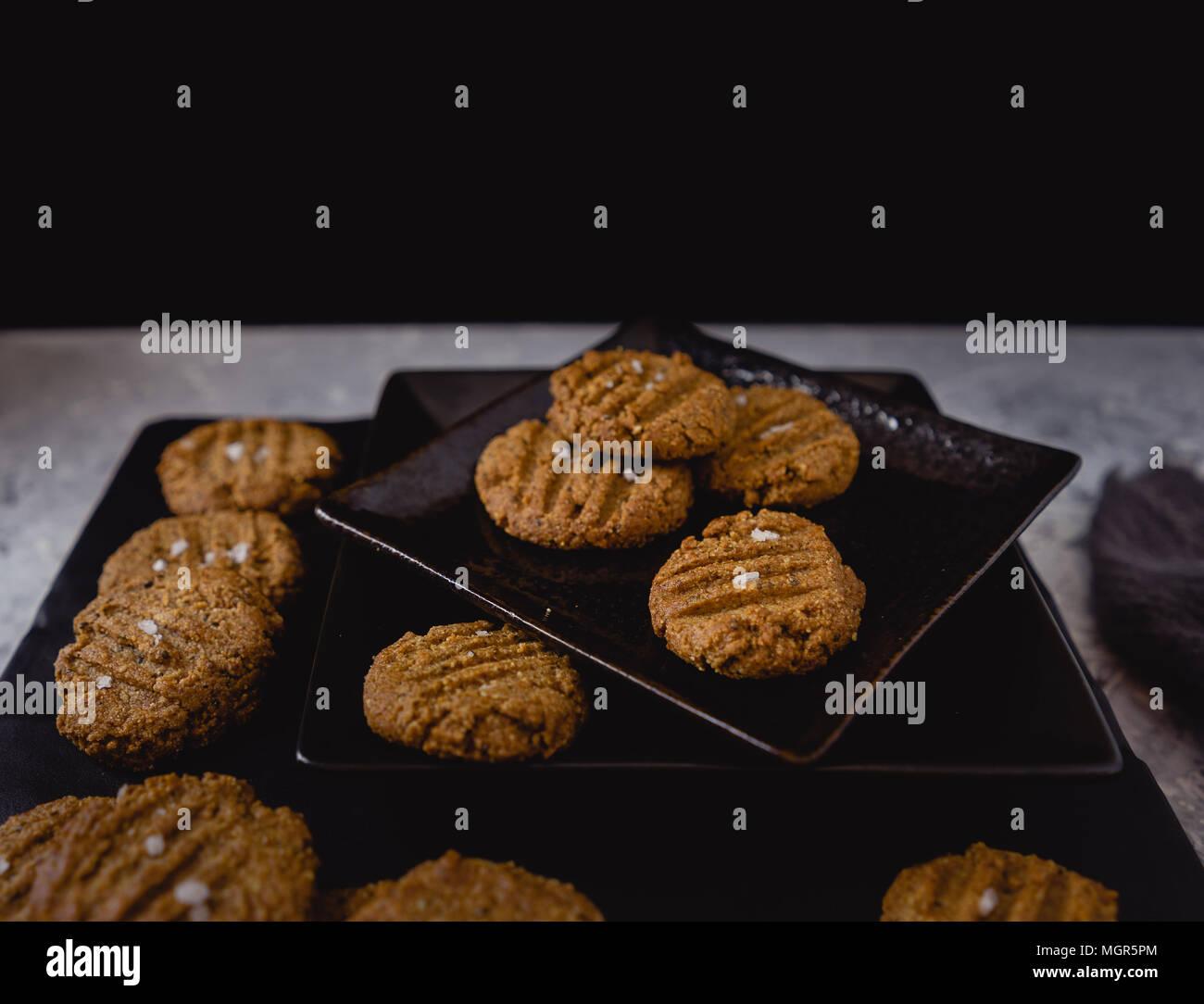 Paleo Vegan Cookies, Dark Background Stock Photo