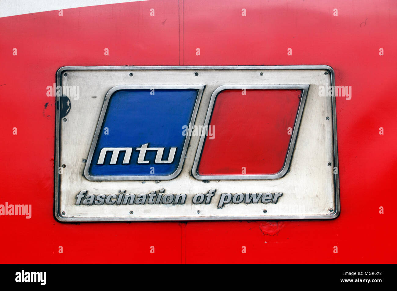 43290 'MTU Fascination Of Power' nameplate at York Railway Station - Stock Image