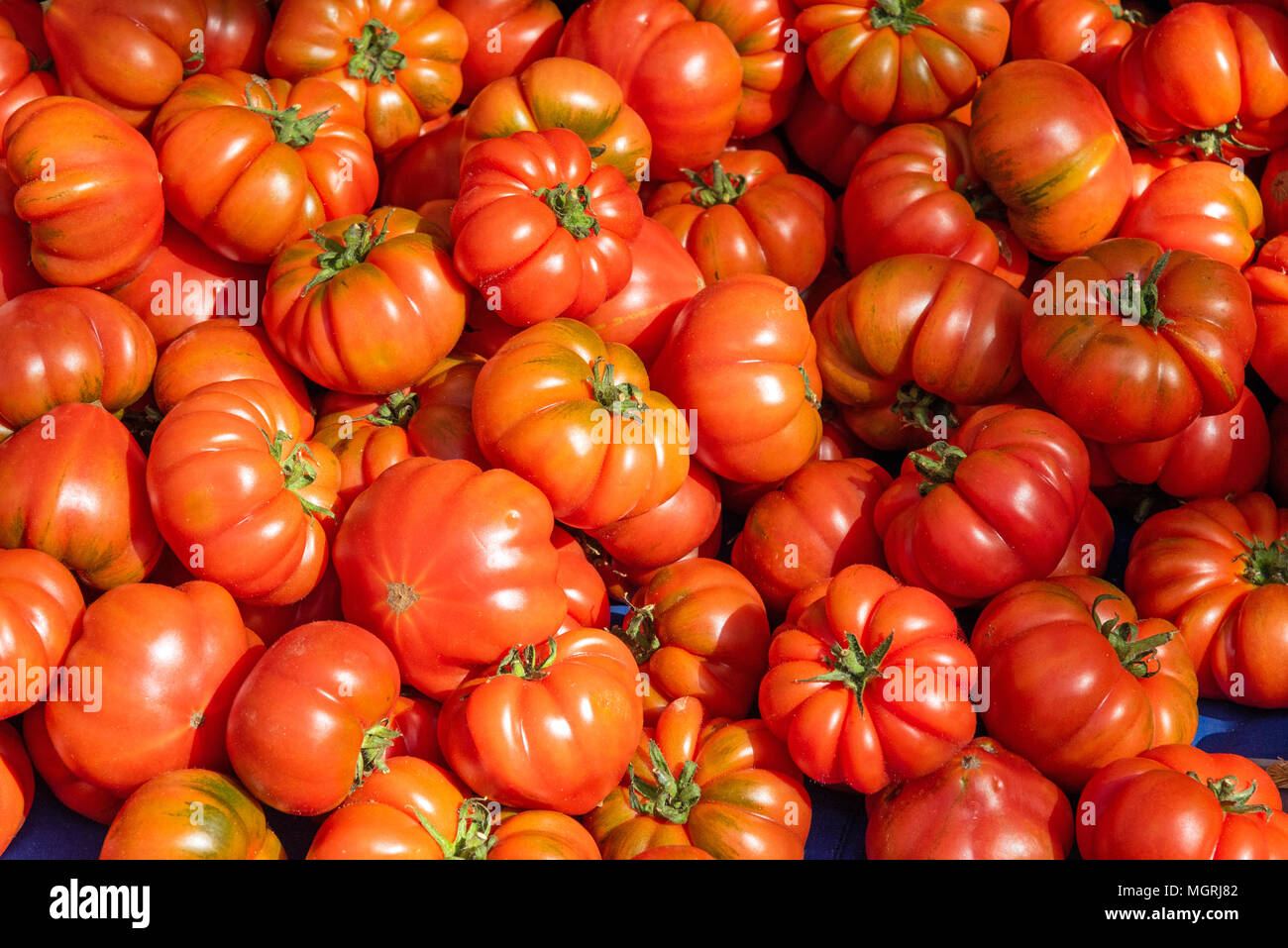 Ripped sicilian tomatoes for sale at a market - Stock Image