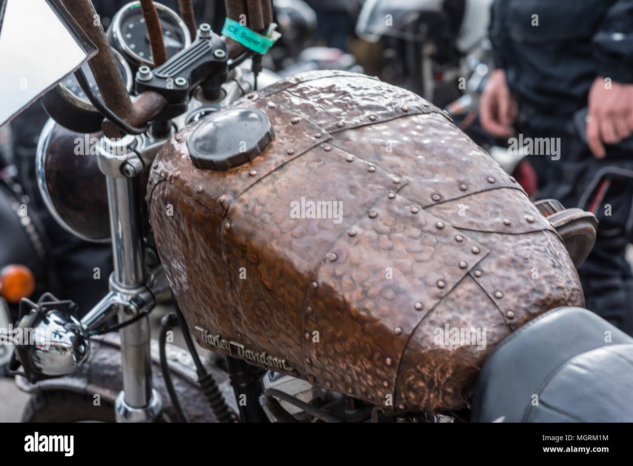RIGA, LATVIA - APRIL 28, 2018: 2018 Moto Season Opening Event. A close-up of the most interesting details and attributes of motorcycles parked at the  - Stock Image