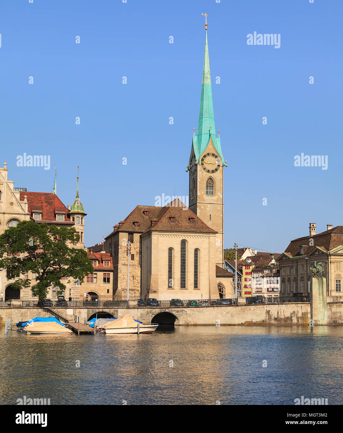 The Fraumunster cathedral in Zurich, Switzerland - a well-known landmark of the city. - Stock Image