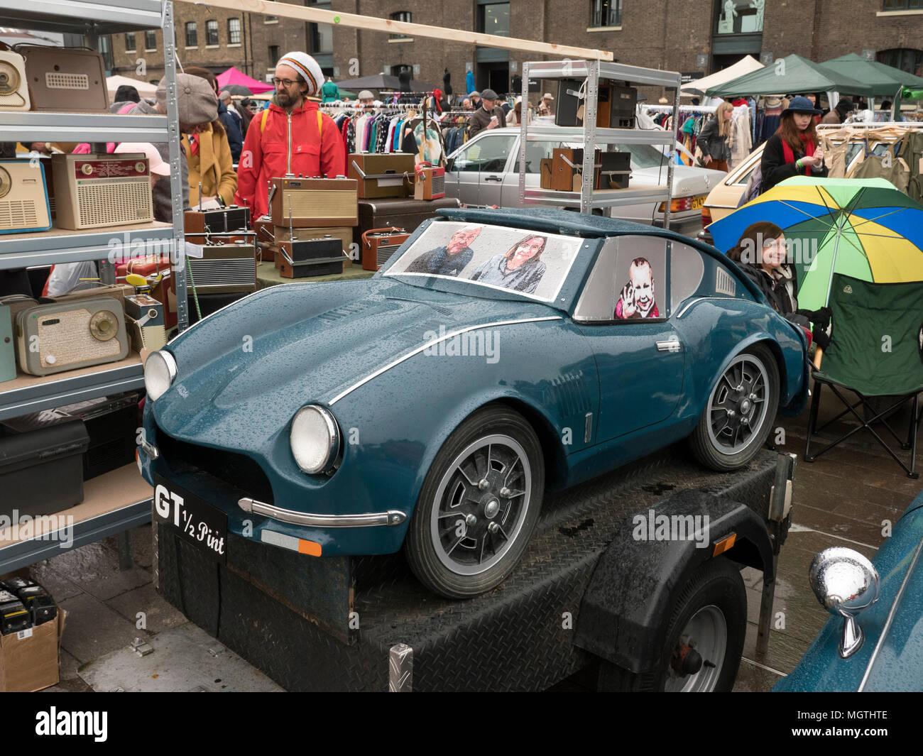 london, uk. 28 april 2018. the classic car boot sale in granary sq