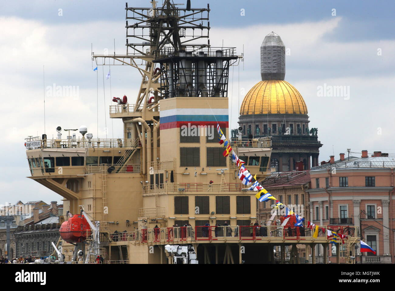 St Petersburg, Russia. 29th Apr, 2018. ST PETERSBURG, RUSSIA - APRIL 29, 2018: The Sankt Peterburg icebreaker on the Neva River during the 5th Icebreaker festival. Peter Kovalev/TASS Credit: ITAR-TASS News Agency/Alamy Live News - Stock Image