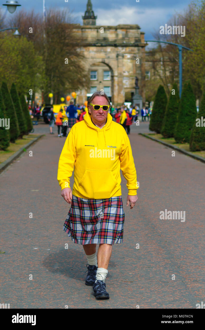 Glasgow, Scotland, UK. 29th April, 2018. Kiltwalk Glasgow 2018, a charity event where walkers have three distances to choose from, a Mighty Stride (23 miles), a Big Stroll (14 miles) or the Wee Wander (6 miles). This year involved 10,000 walkers and raised two million pounds for 600 charities. Pictured Alan Rough aka Roughie. Credit: Skully/Alamy Live News - Stock Image