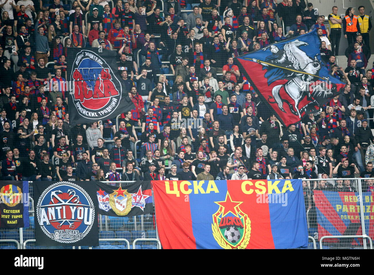 St Petersburg Russia 29th Apr 2018 St Petersburg Russia April 29 2018 Cska Moscow S Fans Root