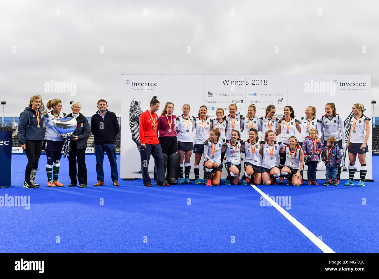 London, UK. 29 April 2018. Surbiton Ladie's team celebrate after winning the IWHL Final during IWHL Final between Surbiton and Holcombe  of the 2018 England Hockey League Final on Sunday, 29 April 2018. London, England. Credit: Taka G Wu Credit: Taka Wu/Alamy Live News - Stock Image