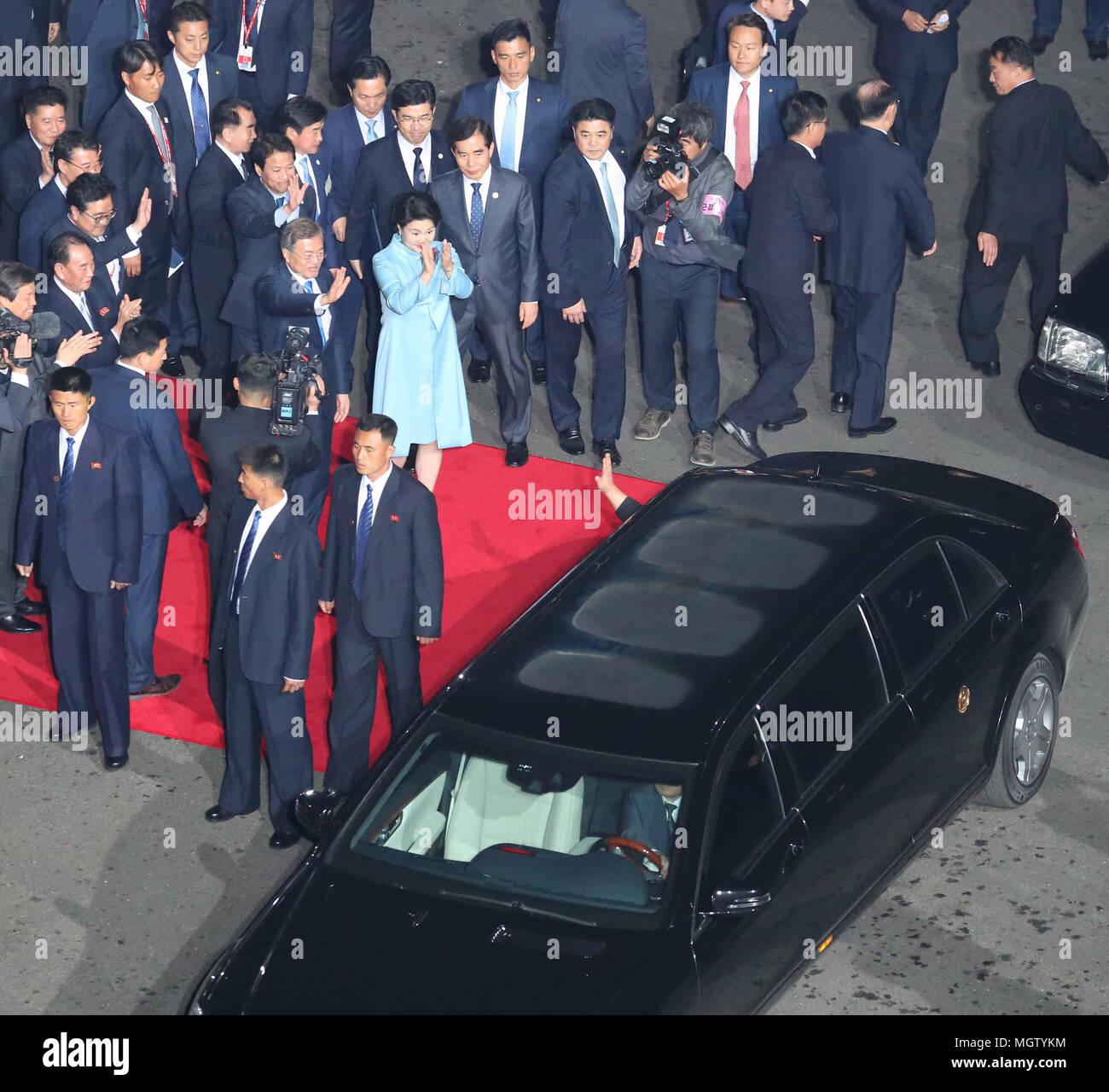 kim jong-un, apr 27, 2018 : north korean leader kim jong-un in a car