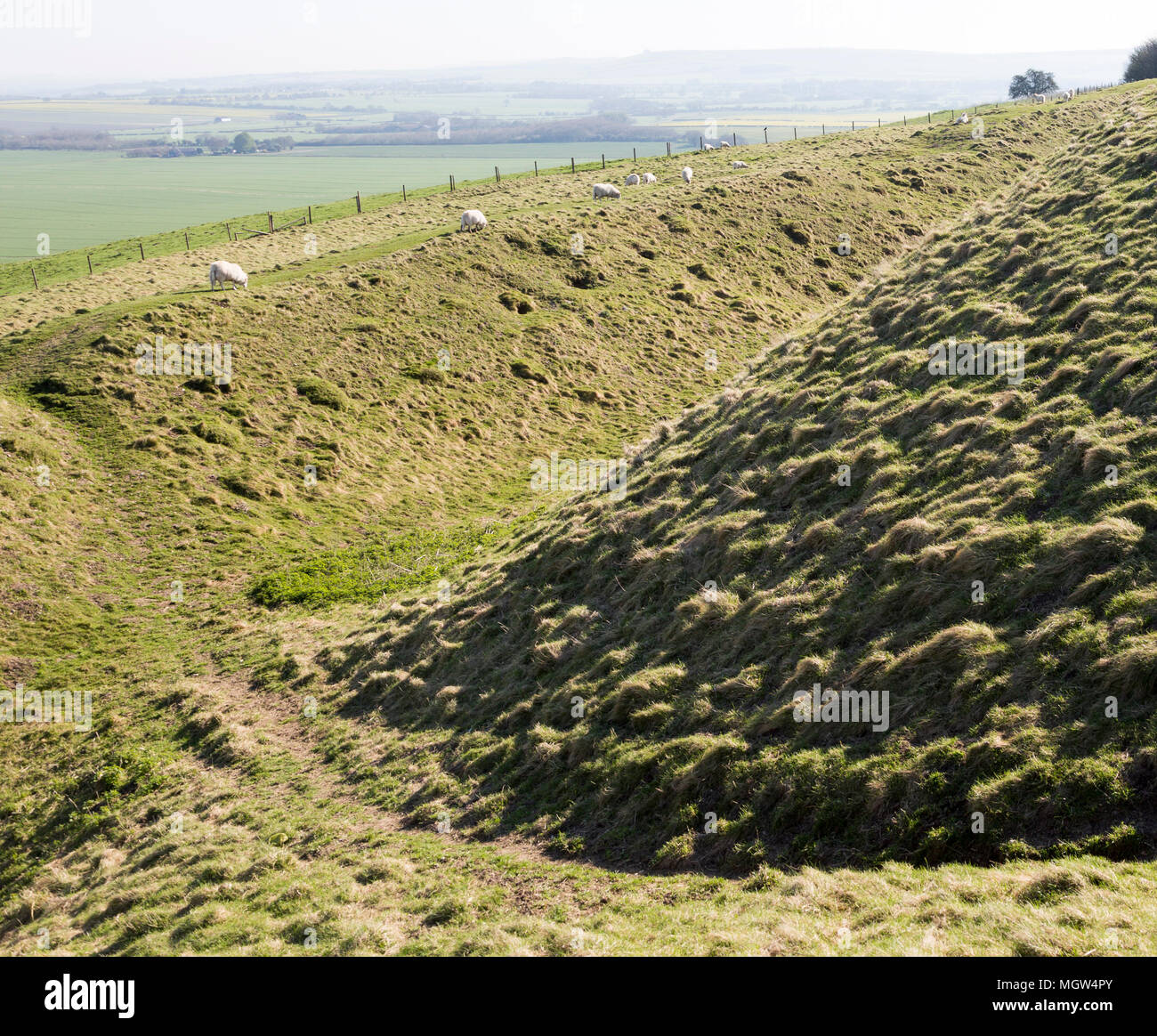 Defensive ditch and rampart at Barbury Castle Country Park