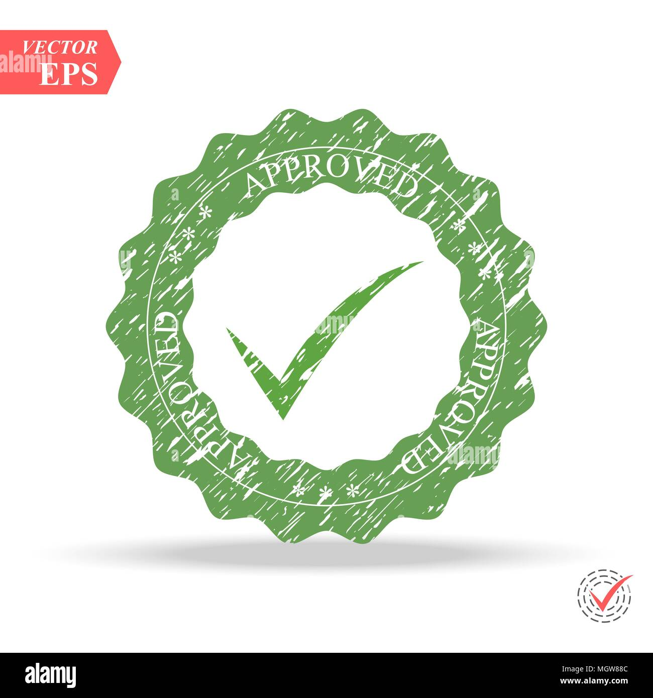 Quality Control Approved. Tick symbol in green color, vector illustration. Approved stamp eps10 Stock Vector