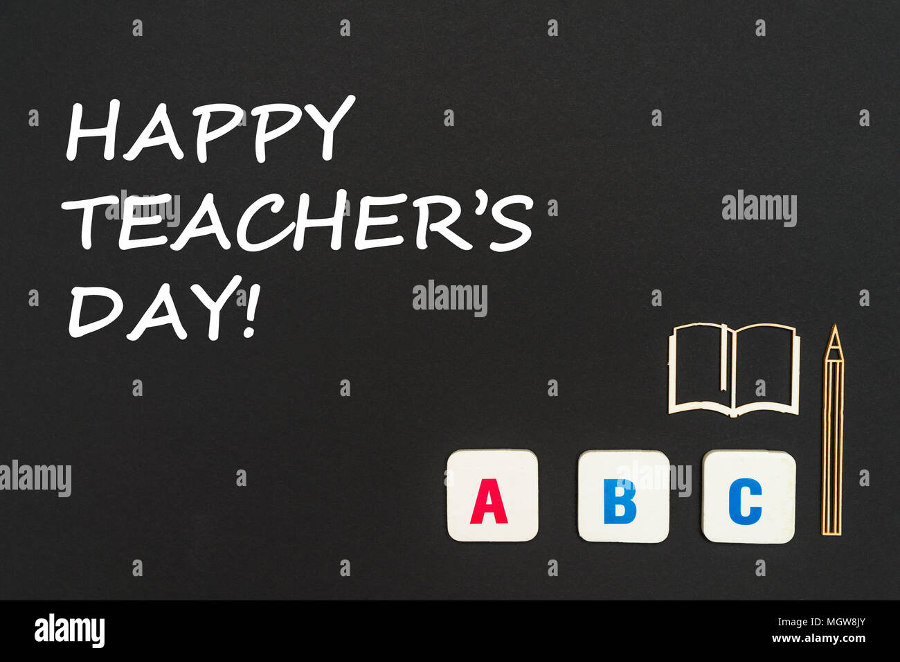 Teachers day concept stock photos teachers day concept stock concept english school text happy teachers day abc letters chipboard miniature book spiritdancerdesigns Images