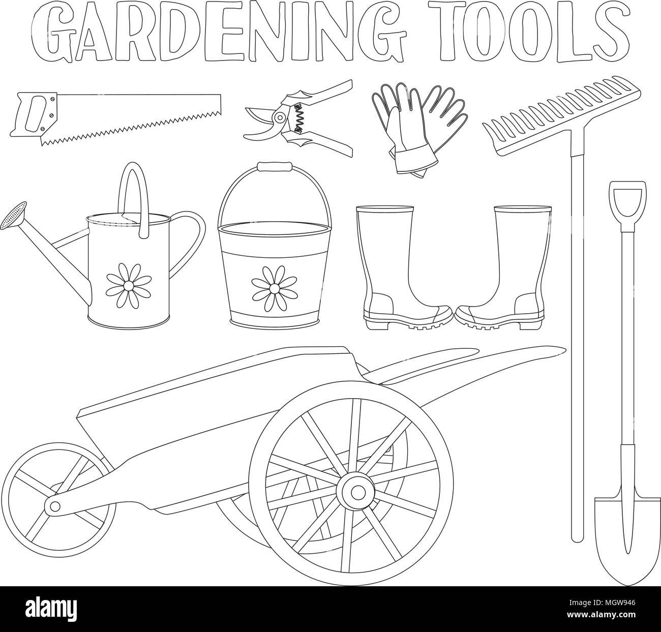 Black And White Garden Tool Set 9 Elements Coloring Book Page For Adults Kids Gardening Vector Illustration Gift Card Certificate Stick