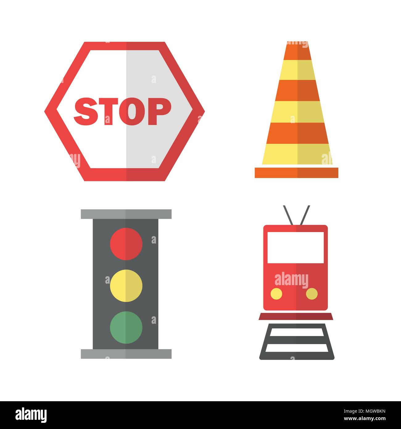icons set about Transportation. with train, stop sign, cone and traffic light - Stock Image