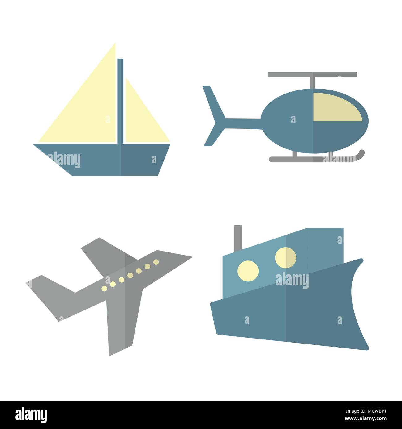 Vector set of transport isolated on white - ship, helicopter, airplane, steamer - Stock Vector