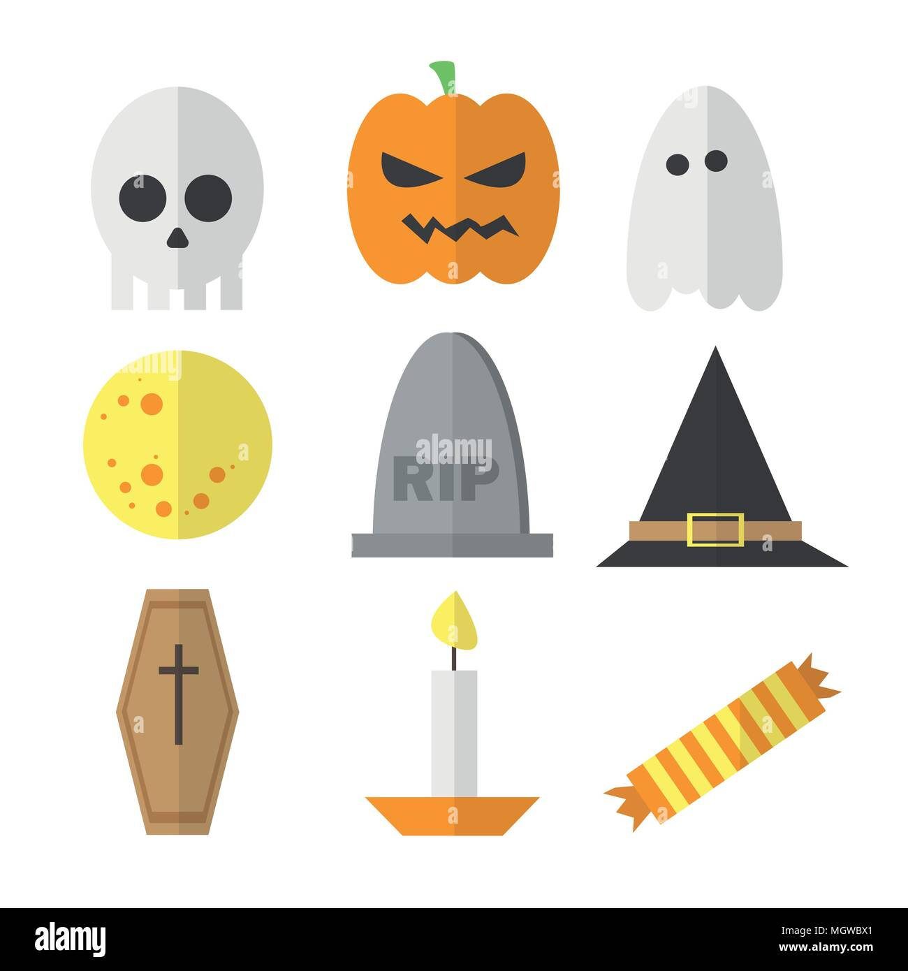 Halloween symbol illustration set vector - in cartoon flat style - Stock Vector