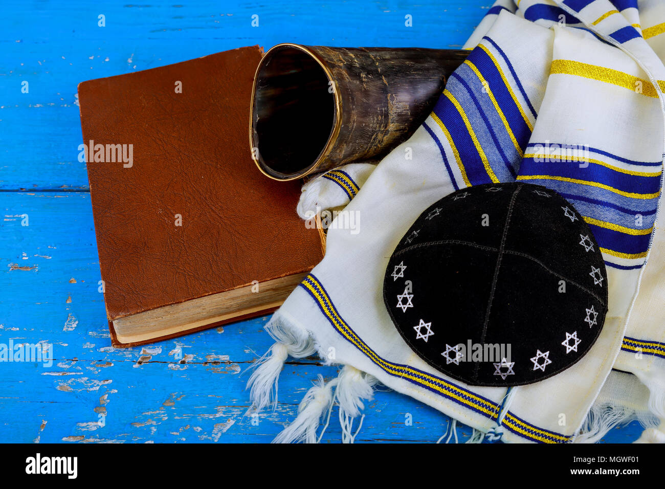 Prayer Shawl Tallit And Shofar Horn Jewish Religious Symbol Stock