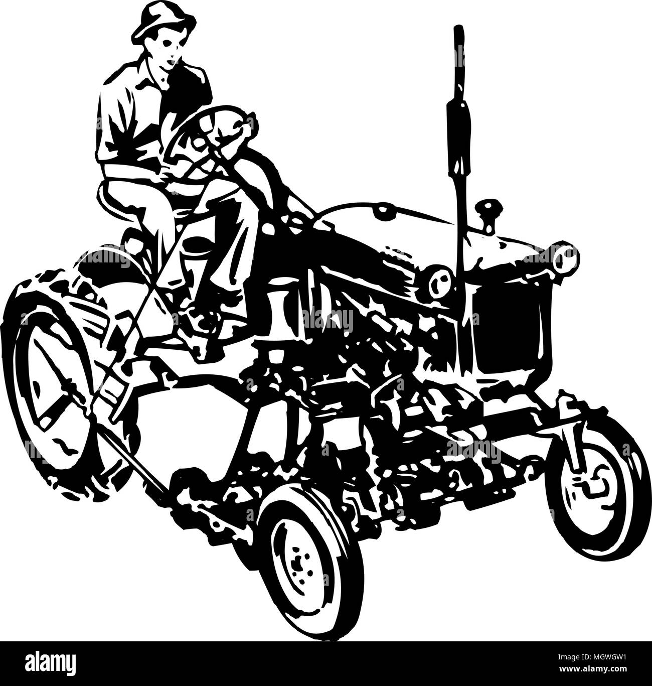 Tractor 1 - Retro Clipart Illustration - Stock Image