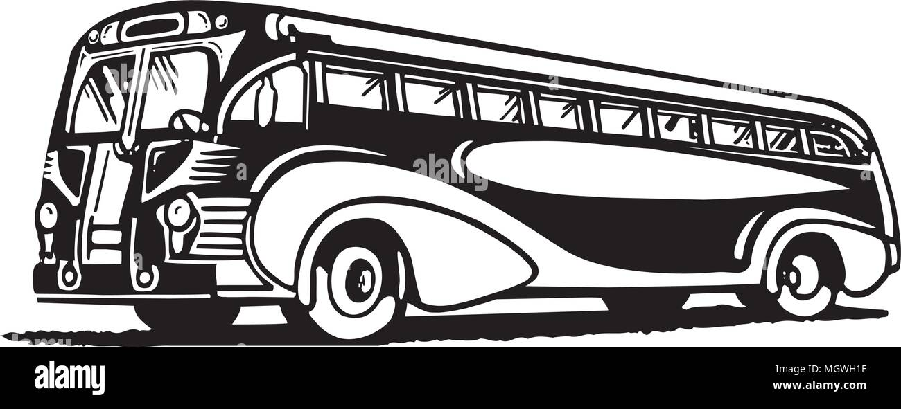 Travel By Bus - Retro Ad Art Illustration - Stock Vector