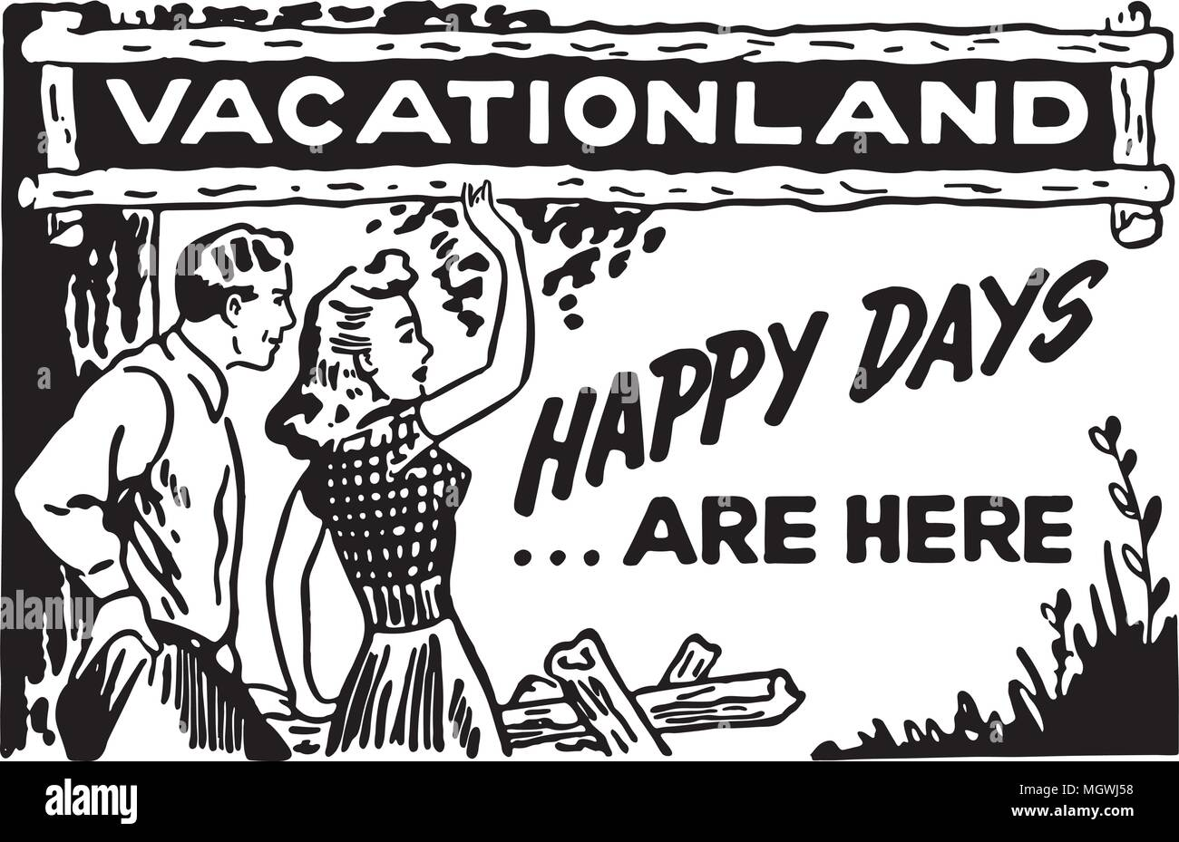 Vacationland - Retro Ad Art Banner - Stock Image