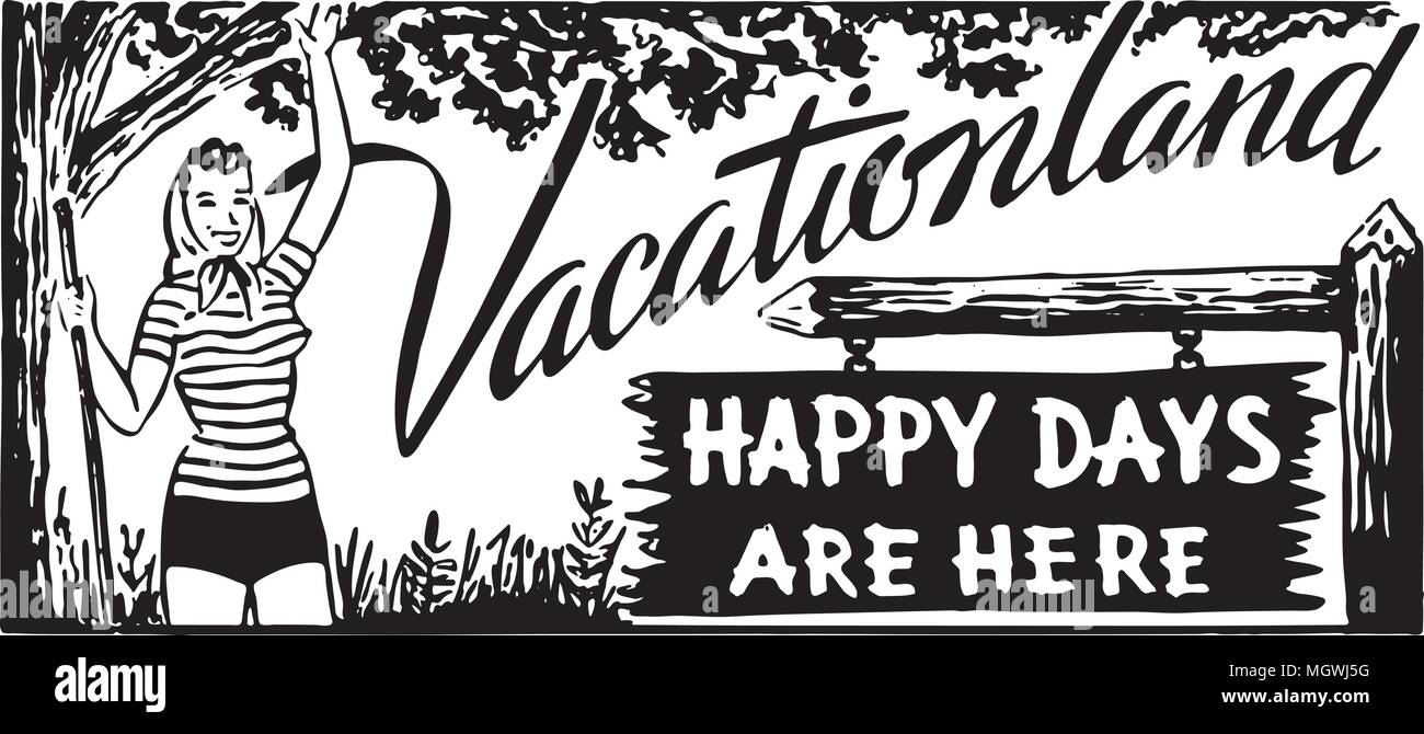 Vacationland 2 - Retro Ad Art Banner - Stock Image