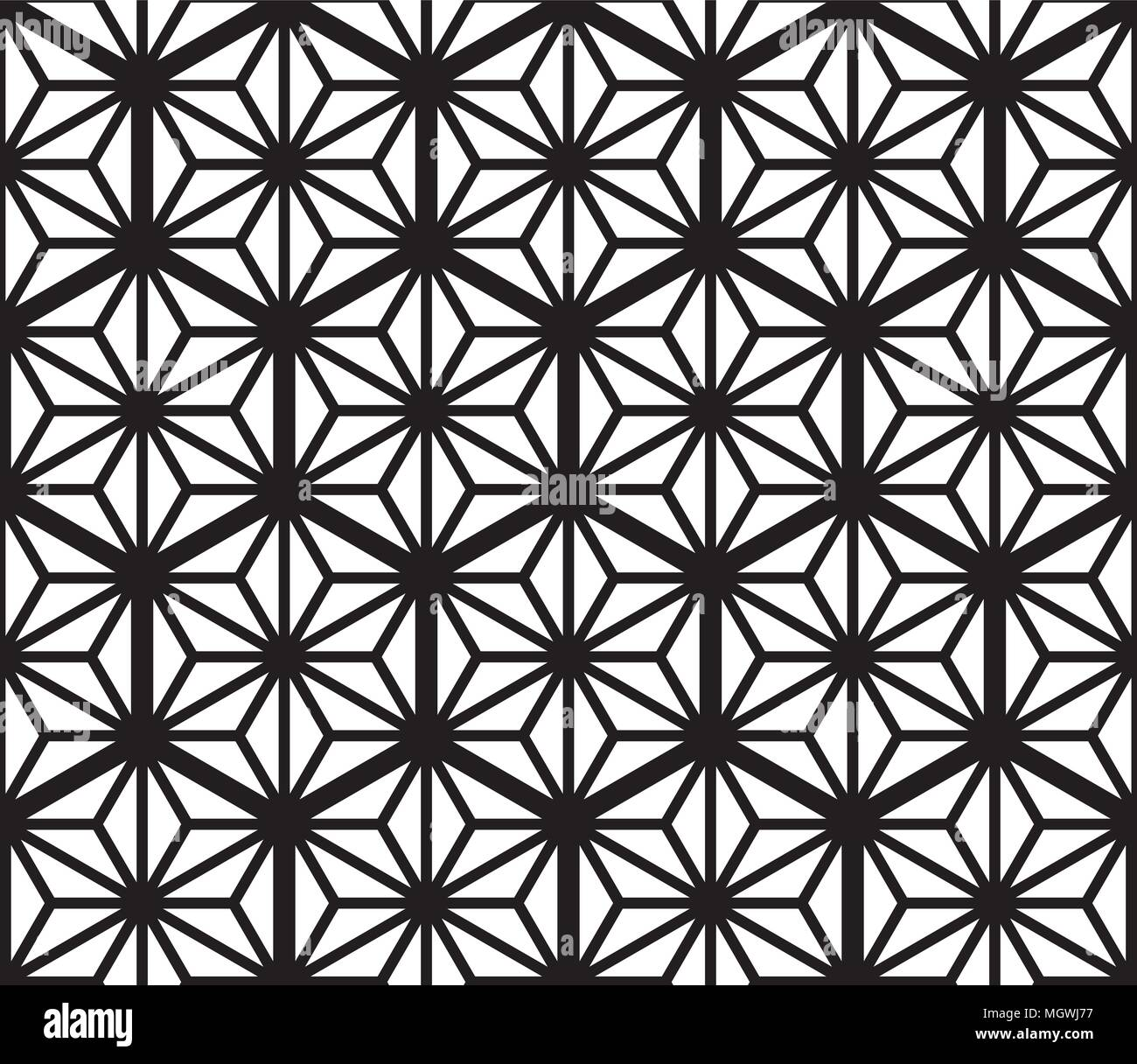 Seamless Geometric Pattern Based On Traditional Japanese Kumiko Patterns Grid Of Hexagons Of Large Thickness Stock Vector Image Art Alamy