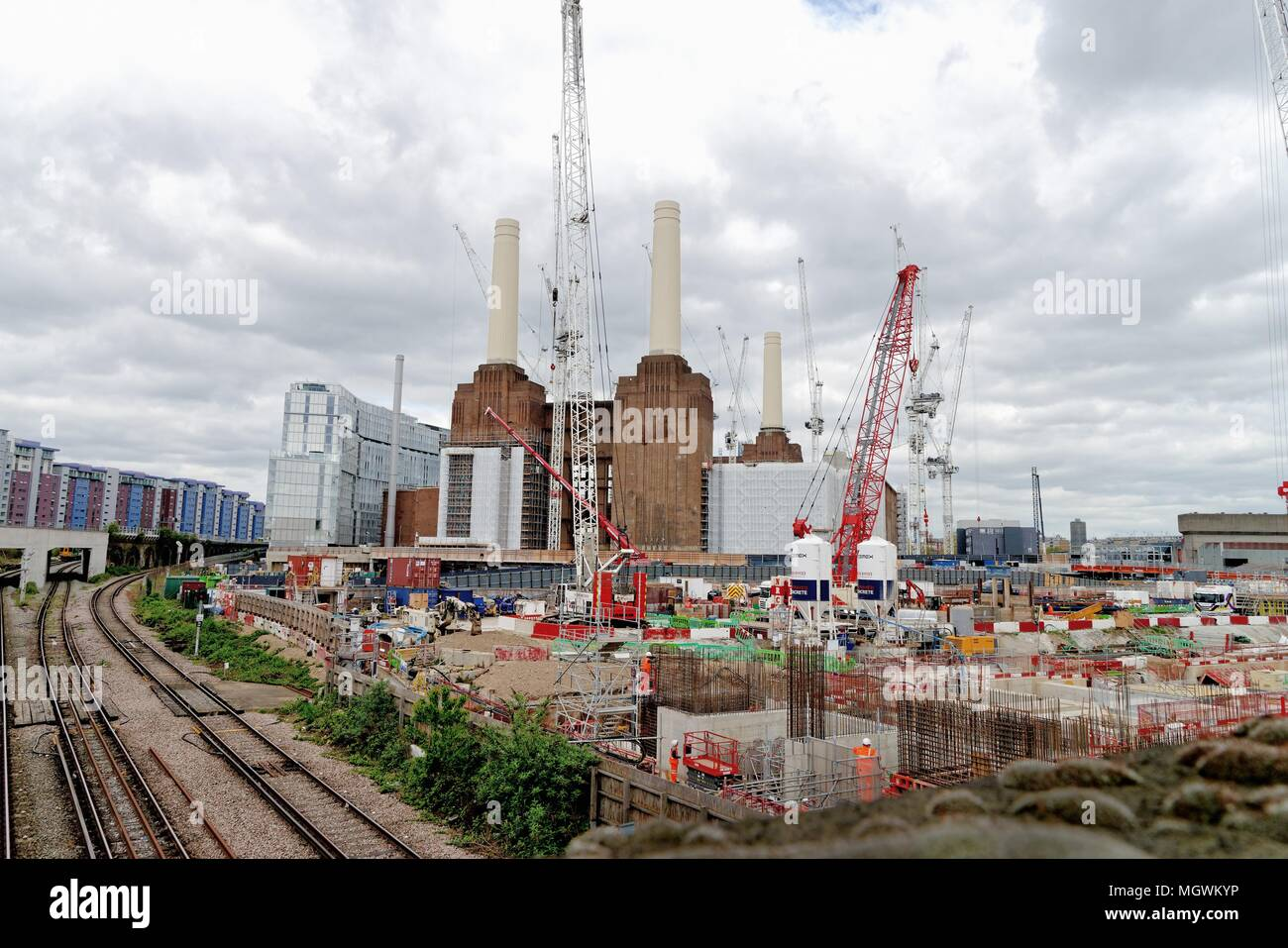 The redevelopment of the Battersea power station at Nine Elms London England UK - Stock Image