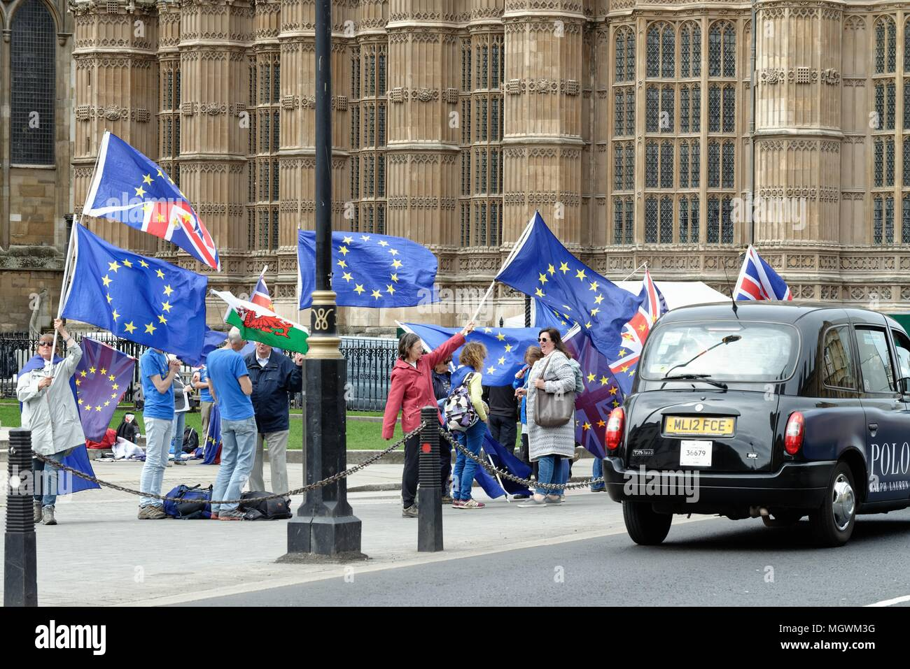 Remain campaigners protesting outside the Houses of Parliament  central London England UK - Stock Image