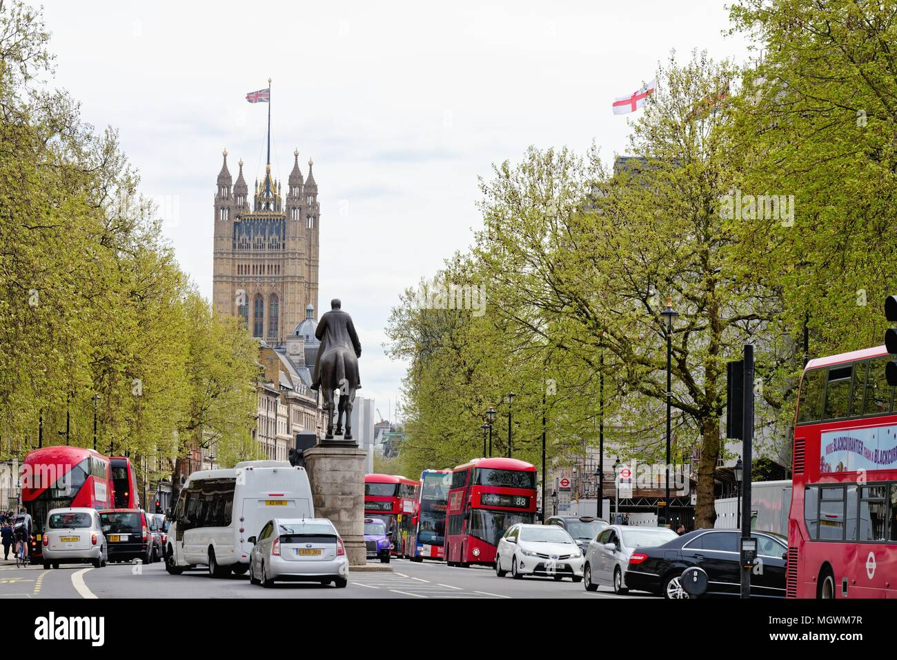 View of Whitehall looking towards the Houses of Parliament Westminster, central London England UK Stock Photo
