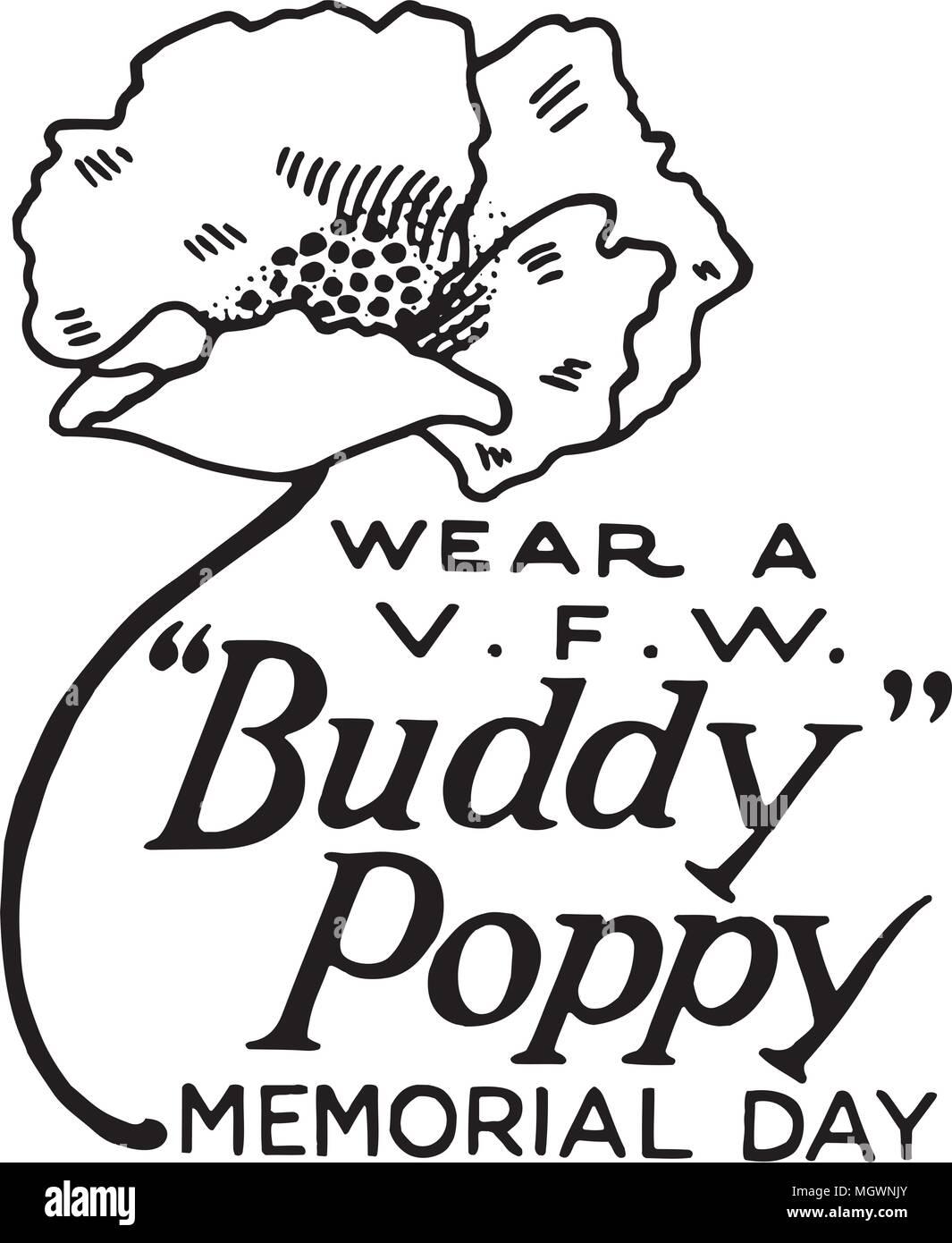 Wear A Buddy Poppy - Retro Ad Art Banner - Stock Vector